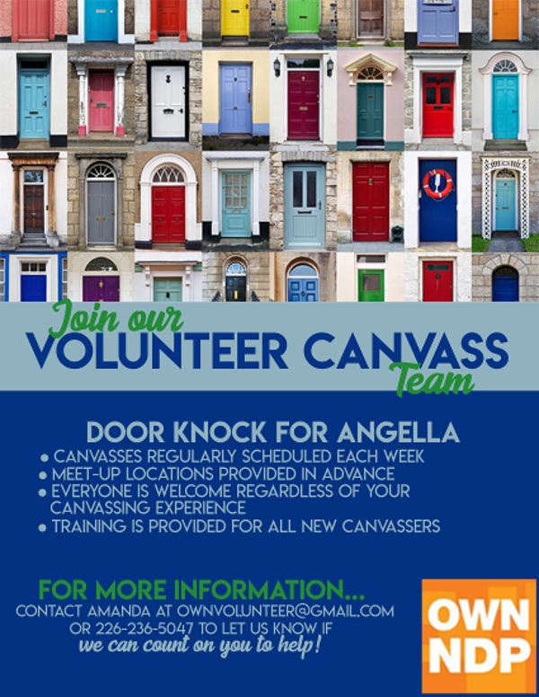 Volunteer to Canvass with Angella